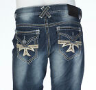 Xtreme Couture AFFLICTION Mens Denim Jeans GEO FLAP CROSS Embroidered $79