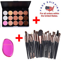 Concealer Palette Makeup Contour Face Cream 15 Color + 20 Brushes + PINK SPGE