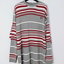 NEW w/ Tags ECKO Unlimited Pullover Sweater Gray red Striped Mens Size M