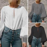Women Ladies Puff Sleeve T Shirt Loose Blouse Summer Casual Plain Shirt Tops