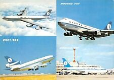 Sabena Belgian World Airways 1960s Postcard Boeing 747 707 737 & DC-10 Airplane