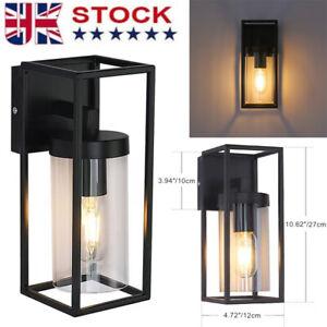 LED Rectangular Outdoor Indoor Wall Light Clear Metal Lantern Garden Wall Lamp