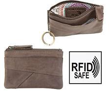 Womens Mushroom Brown Soft leather Coin Pouch Purse Key Holder Chain RFID