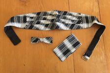 Vintage After Six 6 Black White Silver Stripe Cummerbund Bow Tie Hanky Set