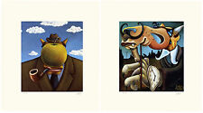 """Markus Pierson """"Art History Coyote Portraits of Magritte and Dali"""" 2 Serigraphs"""