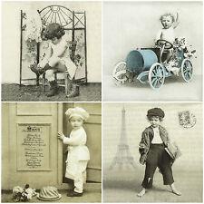 Papel 4x Servilletas Para Decoupage Craft Sagen Vintage Niños Mix