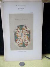 Vintage Print,FAIENCE,1872,Covercle De Saliere,Rouen,Pg26