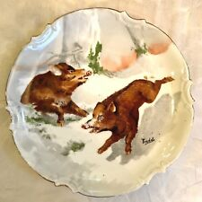 ANTIQUE HAND PAINTED WILD BOARS PLATE CORONET LIMOGES FRANCE Signed Pradet