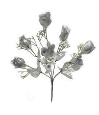 7 Roses Buds ~ SILVER ~ Silk Wedding Flowers Bridal Bouquets Centerpieces Decor