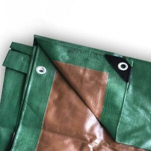 20x20 Heavy Duty Waterproof Tarp - 12 Mil Green/Brown All-Weather Canopy Cover