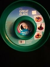 "Set of 6 ""The Great Plate"" Party Plate With Built in Cup Holder - Green"