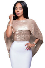 New Stunning Blush Gold Sequins Cape Top Size 8 10 12 14 UK
