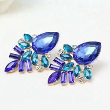 Ohrstecker Ohrringe XL Blumen Blau Rückseite Gold Strass Damen Mode Schmuck