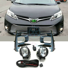 Clear Lens Pair OEM LED Fog Light Lamp+Wiring+Switch Kit For Toyota Sienna 18-20