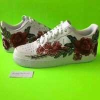 Nike Air Force 1 Custom Size 10.5 Men's White Shoe Red Flower