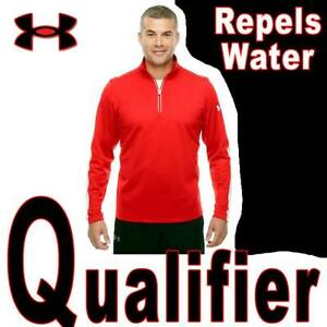 MEN'S UNDER ARMOUR UA QUALIFIER 1/4 ZIP SHIRT WATER REPEL 1276312-600 MEDIUM