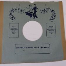 "78 rpm 10"" inch card gramophone record sleeve NICHOLSON's of SEATON DELAVAL"