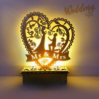 Romantic Wedding Wooden LED Light Stand Ornament Heart Shape Table Decoration !