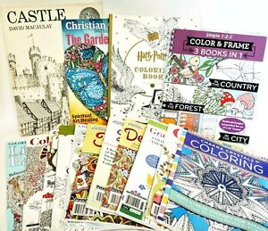HUGE Lot of 14 Coloring Books - Adult Teen Advanced Stress Therapy OVER 10 LBS!