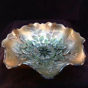 Attractive iridescent Carnival Glass bowl FREE P&P