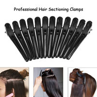 12Pcs Black Grip Clips Clamps Hairdressing Sectioning Styling Salon Hair Tools