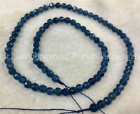 Natural 4mm Faceted Blue Ink Kyanite Gemstone Round Loose Beads 15'' AA