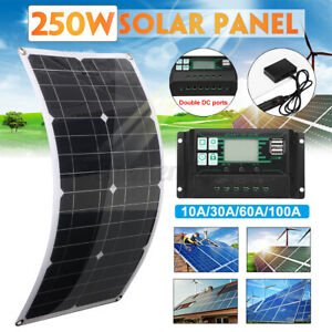 250W Flexible Solar Panel Kit Mono With 100A Controller Camping Power Charging