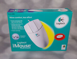 1998 Logitech 3-Button Mouse Model 1455 - Serial or PS/2 Port  - New/Sealed
