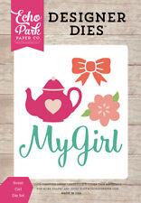Echo Park Petticoats & Pinstripes Sweet Girl Designer Die Set Teapot Bow Flower