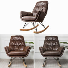 Leather Rocking Chair Relaxing Armchair Ergonomic Padded Seat Wing Back Bedroom