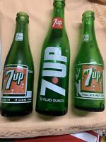 "Lot Of 3 Vintage 7 Up Bottles! ""Bubble Girl"" - 1950s To 70s Bottles."