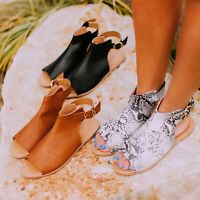 Women PU Leather Gladiator Sandals Flat Ankle Boots Peep Toe Summer Shoes Size 9
