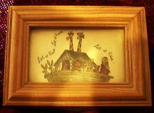 "WOODEN Wood Hinged NOAH's ARK Trinket Jewelry Box  Glass Cover 'Let it Rain' 4"""