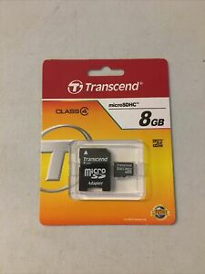 Transcend Class 4 Micro SDHC 8GB Memory Card w/ Adapter  **New**