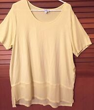 Plus Size 20 Yellow faux two piece T-shirt top with round neck & short sleeves