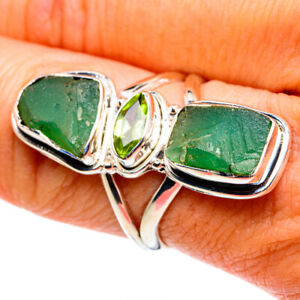 Chrysoprase, Peridot 925 Sterling Silver Ring Size 8.25 Ana Co Jewelry R79380F