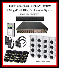 16 Ch HikVision 2TB HD DVR System, 2MP TVI Cameras - Plug-N-Play!!  w/SUPPORT!!