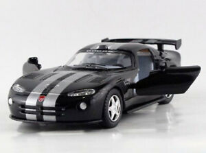 Black 1:34 Dodge 2013 VIPER GTS Stripe Tail Diecast Model Car Pullback Kinsmart