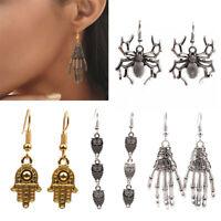 1Pair Halloween Skeleton Hand Bones Skull Earrings Dangle Ear Hook Jewelry Gift