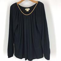 Michael Kors women's top shirt black knit gold metallic trim sparkle size large