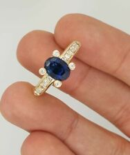 & Oval Sapphire Ladies Prong Ring Estate 14K Yellow Gold Round Natural Diamond