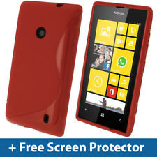 Red S Line TPU Gel Case for Nokia Lumia 520 Windows Cover Skin Shell Holder