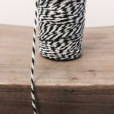 2 Metres Black and White 1.5mm Striped Bunting 100% Cotton String Twine Bakers