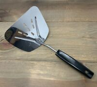 Vintage Foley Lifter Flipper Spatula Slotted Stainless Steel Short Black Handle