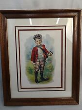 "Charles Spiegle Jr Framed Print ""Golf Boy"" c 1900 Triple Matted - Ready to hang"