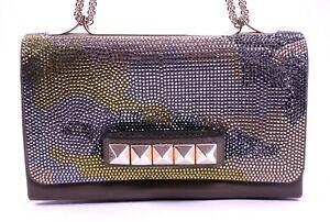 VALENTINO $3,895 Green Leather Crystal Camouflage VA VA VOOM Flap Bag