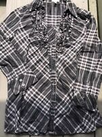 Joie Sz XS 0 2 Cotton 3/4 Sleeve Black White Plaid Blouse Fitted Style Ruffles