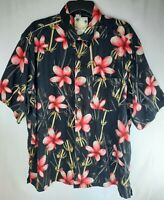 Banana Cabana 100% Silk Men XL Button Down Hawaiian Shirt Floral Black Red Aloha