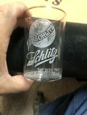 Schlitz Beer Etched Glass Brewing Pre Pro Old Vintage Antique Beer Advertising
