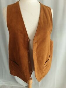 Genuine Leather Suede Brown Mens Wasitcoat L